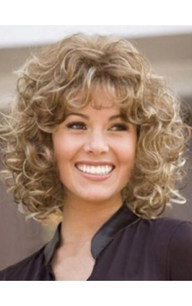Sexy Medium Curly Kunsthaar Perücke