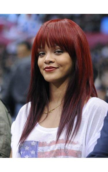 Rihanna Carefree  Lang Kappenlos Glatt Remy Echthaar Perücke