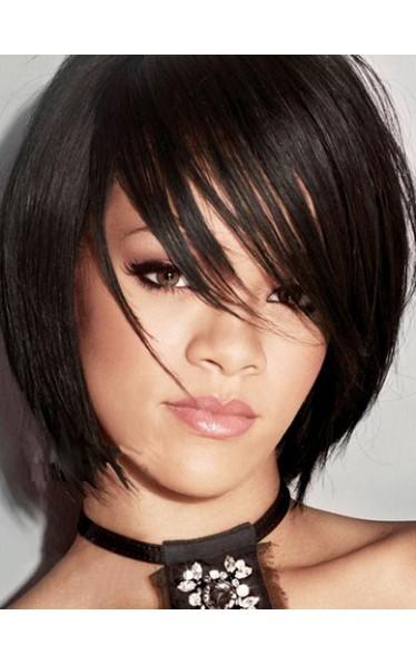 Rihanna's Bob Haarstil Kappenlos Remy Echthaar Perücke
