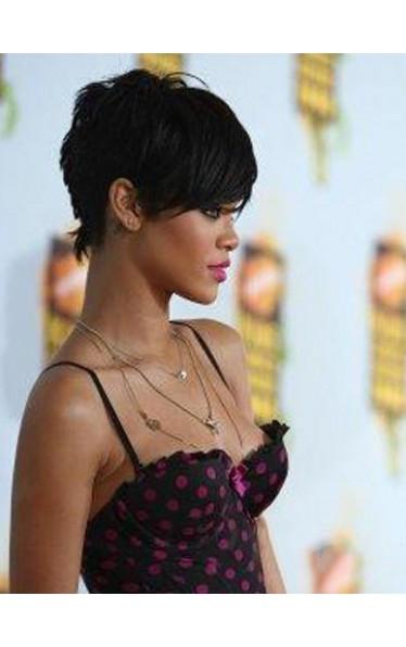 Rihanna's Unique Neu Kurz Glatt Kappenlos Remy Echthaar Perücke